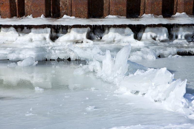 L'amarrage de rivière d'hiver avec de la glace et la neige fondent l'eau photographie stock libre de droits