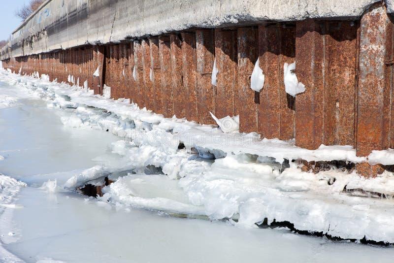 L'amarrage de rivière d'hiver avec de la glace et la neige fondent l'eau images stock