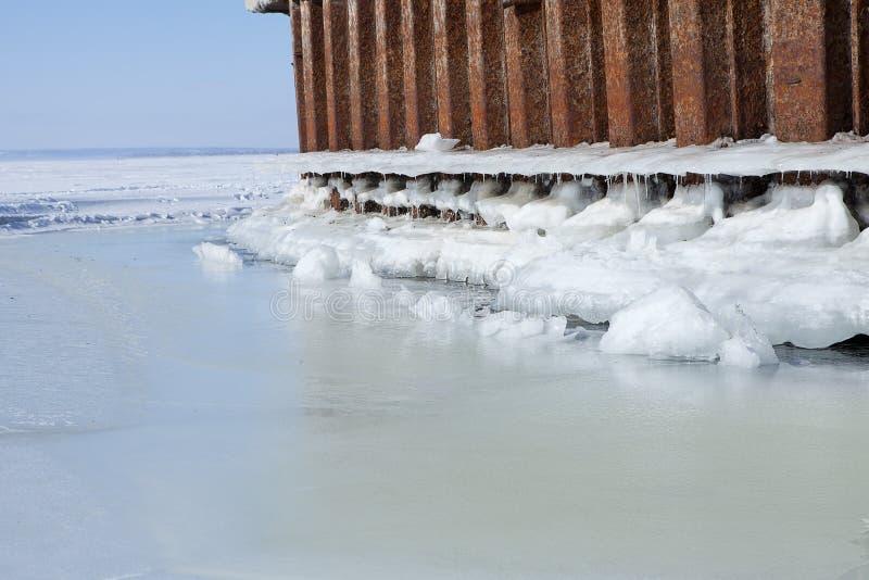 L'amarrage de rivière d'hiver avec de la glace et la neige fondent l'eau image stock