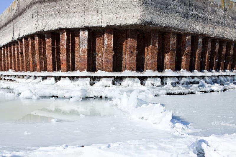 L'amarrage de rivière d'hiver avec de la glace et la neige fondent l'eau photo libre de droits