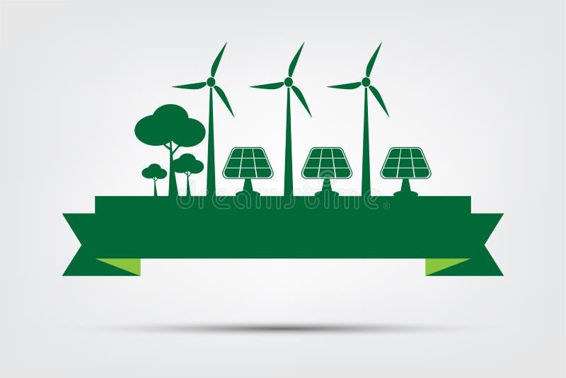 L'ambiente di mondo di concetto ed il simbolo della terra con le foglie verdi intorno alle città aiutano il mondo con le idee eco illustrazione di stock