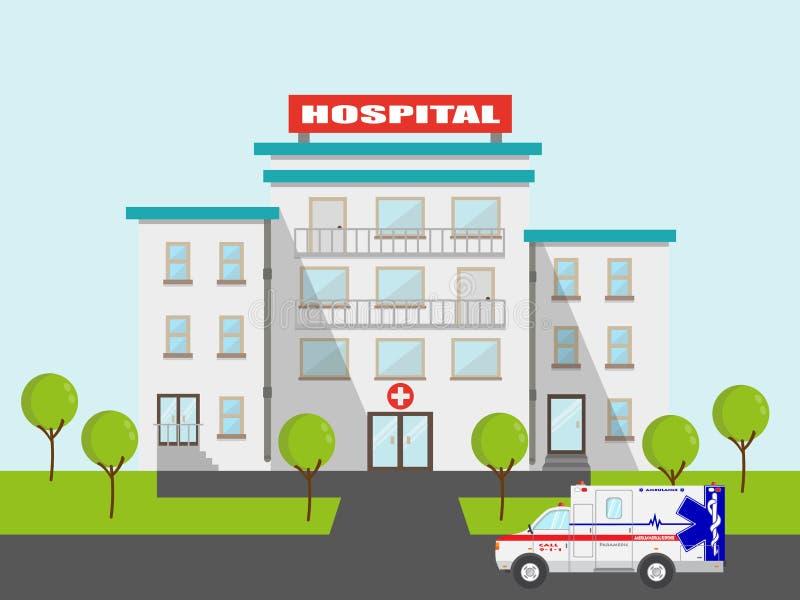 L'ambulance et l'hôpital médicaux plats dirigent l'illustration emergeny de clinique illustration de vecteur