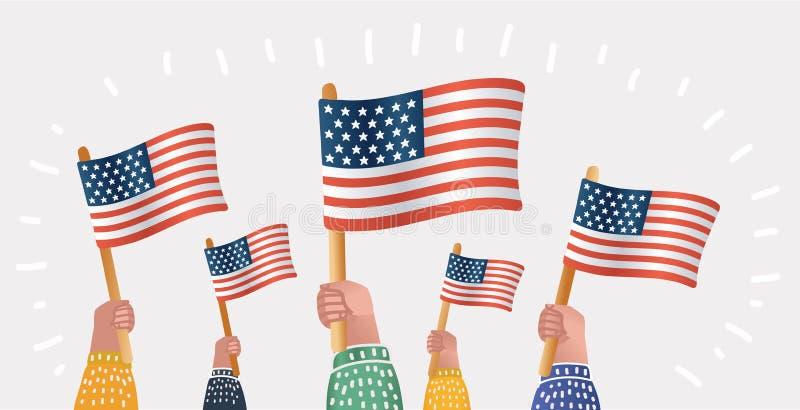 L'America celebra il quarto luglio illustrazione di stock
