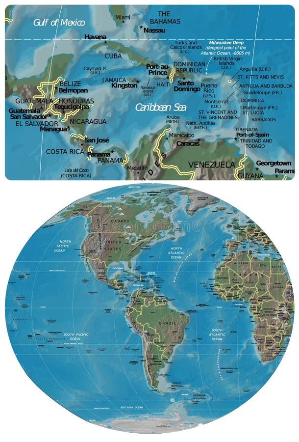 L'America Centrale Cribbean e la mappa delle Americhe illustrazione di stock