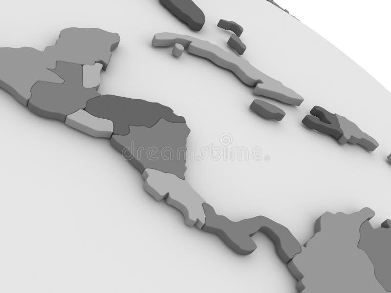 L'America Centrale sulla mappa grigia 3D illustrazione vettoriale