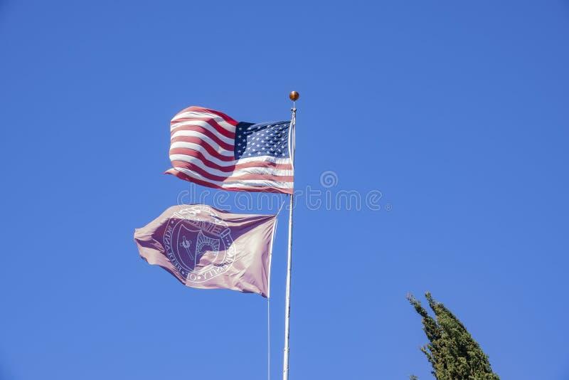 L'americano e l'università di ondeggiamento della bandiera di Redlands immagine stock