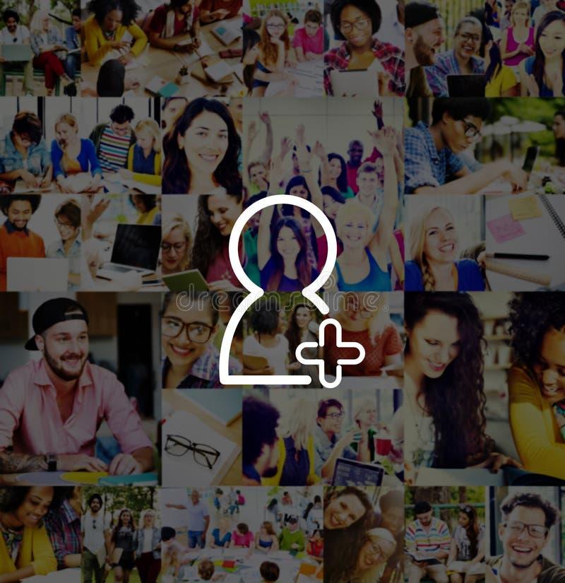 L'amico aggiunge il concetto di richiesta di media del segno della rete del collegamento fotografia stock libera da diritti