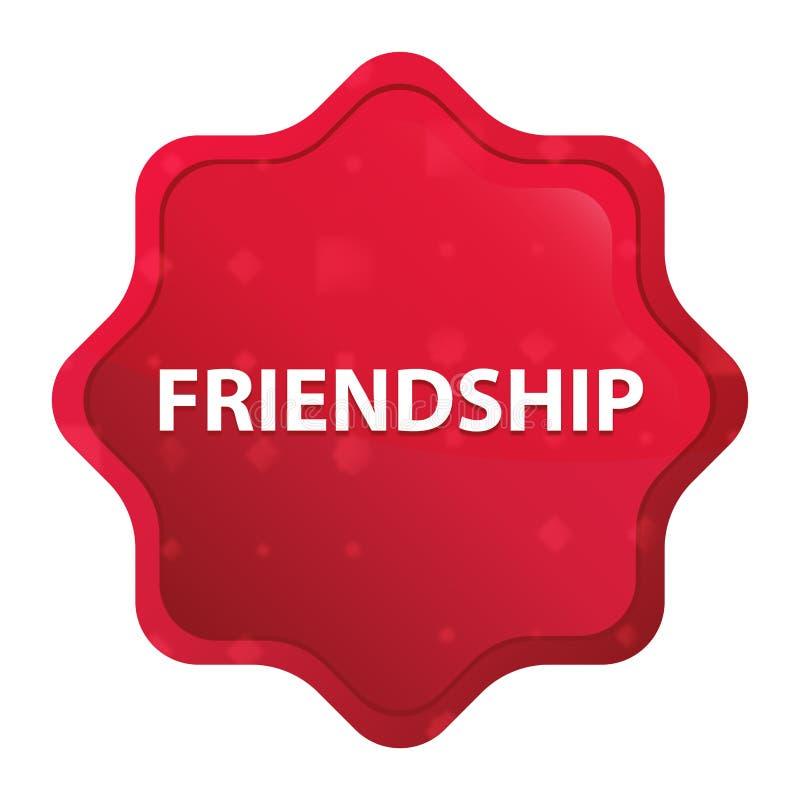 L'amitié brumeuse a monté bouton rouge d'autocollant de starburst illustration libre de droits