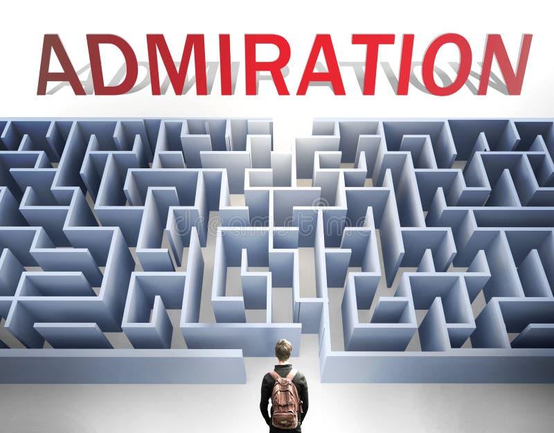L'ammirazione può essere difficile da ottenere - nella foto come una parola ammirazione e un labirinto per simboleggiare che c'è  immagine stock