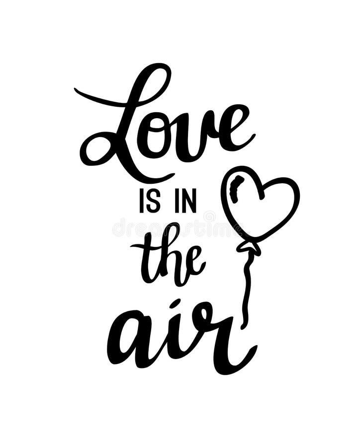 l'amore è nell'iscrizione dell'aria illustrazione vettoriale