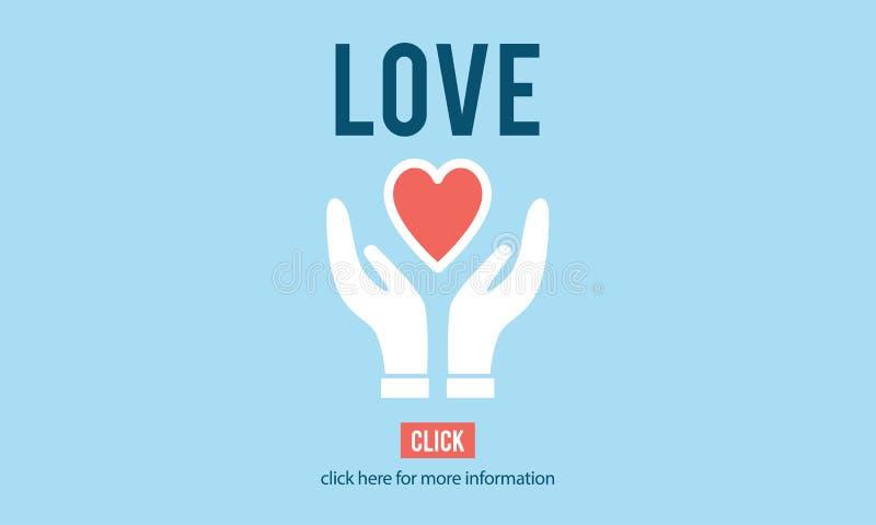 L'amore adora l'emozione di cura come il concetto romanzesco amoroso illustrazione vettoriale