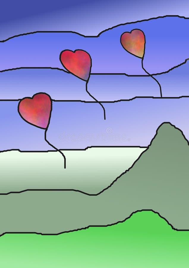 L'amore balloons il vetro della macchia illustrazione vettoriale