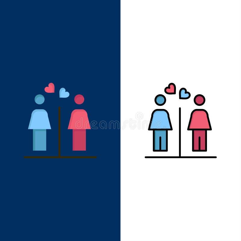 L'amore, coppia, toilette, firma le icone Il piano e la linea icona riempita hanno messo il fondo blu di vettore royalty illustrazione gratis