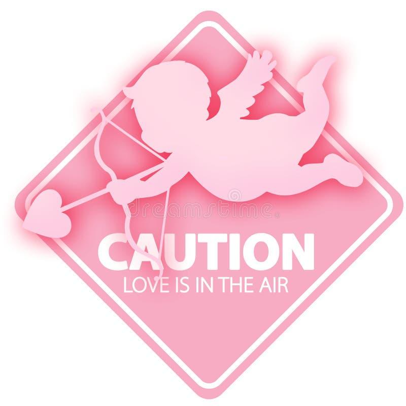 L'amore del cupido della carta del giorno di biglietti di S. Valentino è nella cautela del segno dell'aria illustrazione di stock