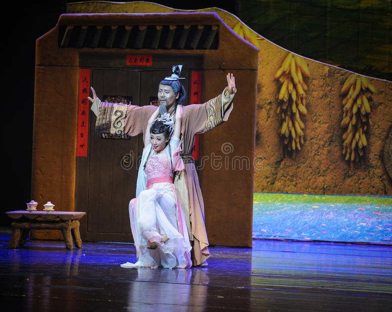 L'amore del padre gradisce una luna di balletto della montagna-Hui sopra Helan immagine stock libera da diritti