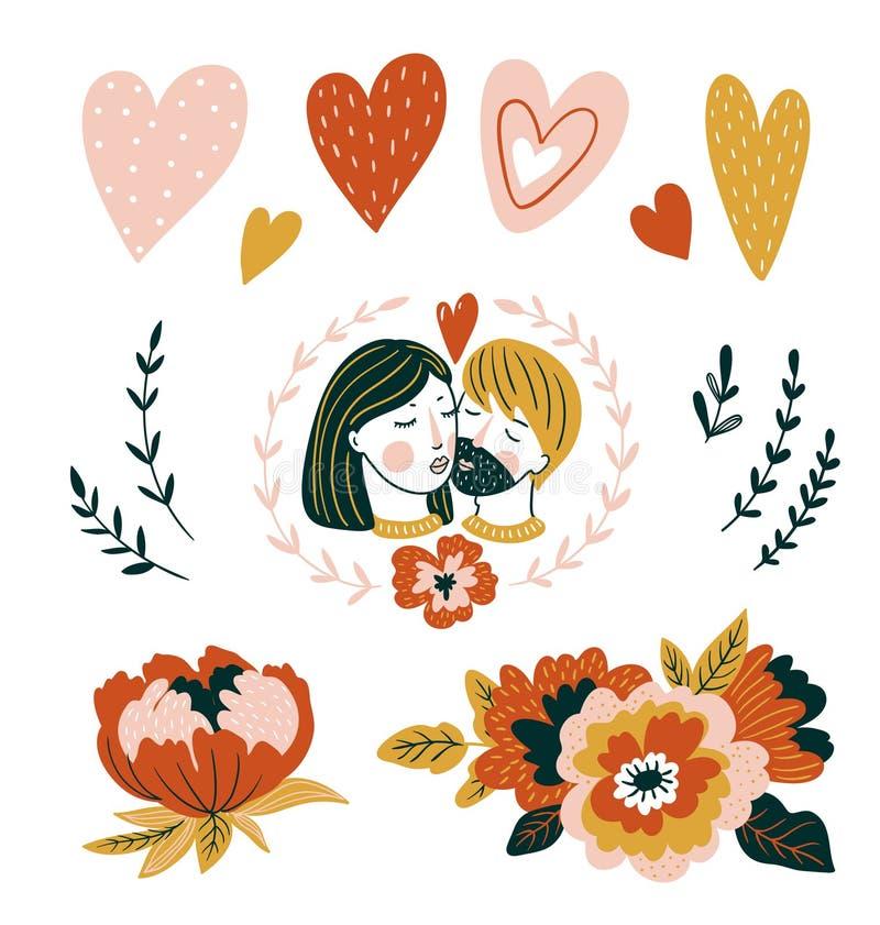 L'amore disegnato a mano dell'illustrazione di vettore ha messo con le coppie, i cuori ed i fiori per il giorno del ` s del bigli royalty illustrazione gratis