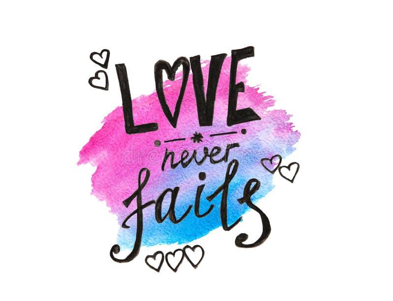 L'amore non viene a mancare mai - l'iscrizione sulla spruzzata blu e rosa dell'acquerello, citazione della bibbia isolata su bian illustrazione di stock