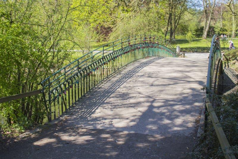 L'amore padlocks sul ponte al giardino botanico tedesco a Dortmund immagine stock libera da diritti