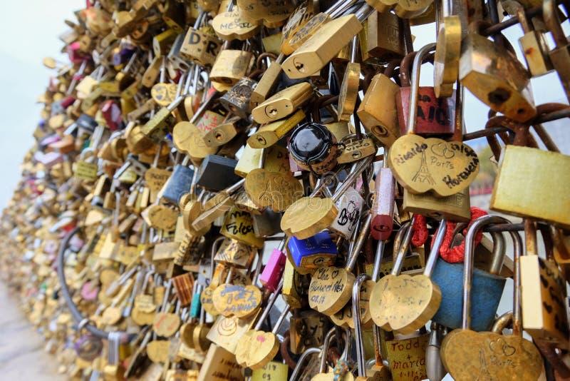 L'amore padlocks sul ponte della Senna a Parigi, Francia immagine stock libera da diritti