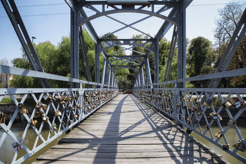 L'amore padlocks sull'inferriata di Elizabeta Bridge sul fiume di Somes il 21 agosto 2018 a Cluj-Napoca immagine stock libera da diritti