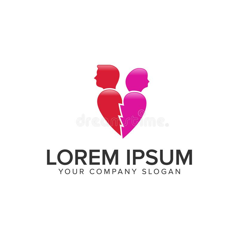 L'amour a blessé le calibre de concept de construction de logo de personnes illustration stock
