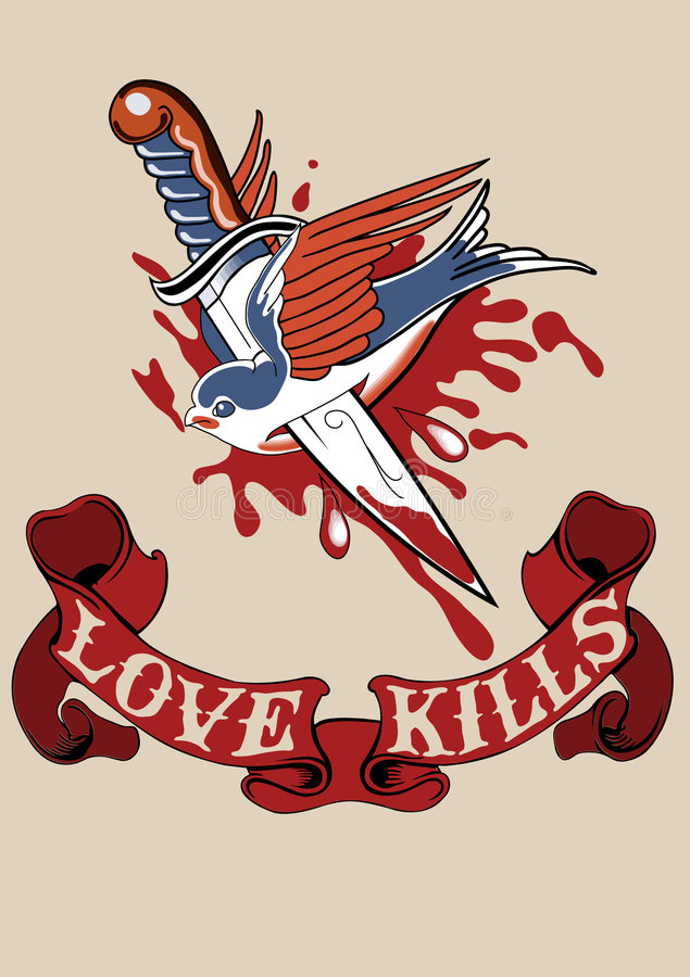 L'amour détruit le tatouage illustration libre de droits