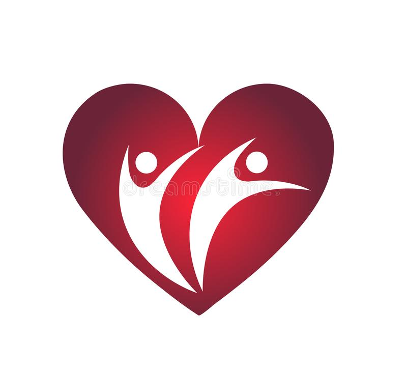 L'amour de famille avec l'élément rouge d'icône de logo de concept de société de coeur se connectent le fond blanc illustration libre de droits