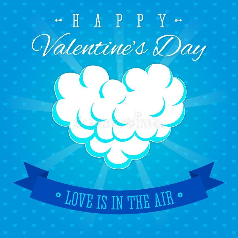 L'amour de jour de valentines est dans la carte de voeux d'air illustration de vecteur