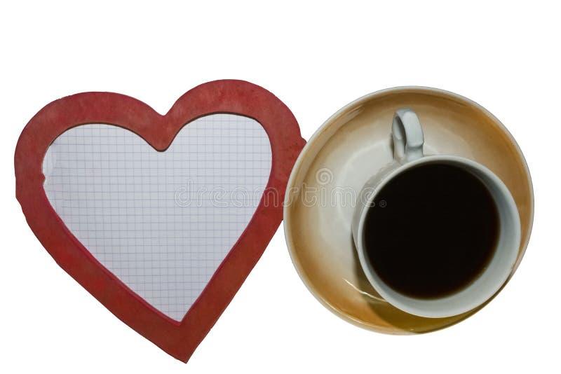 L'amour de mot, tasse de café, coeur photo stock