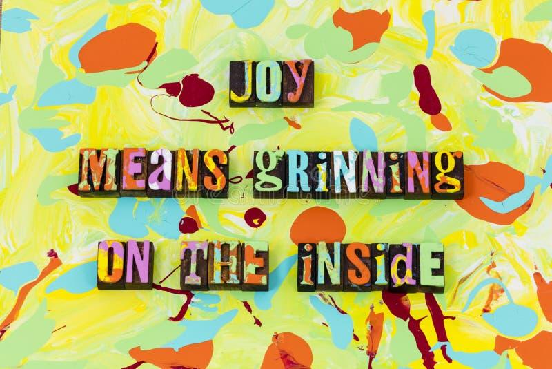 L'amour de sourire de grimace de joie apprécier croient le rire d'expression illustration stock