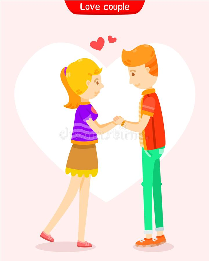 L'amour des couples, couplent tenir des mains illustration de vecteur
