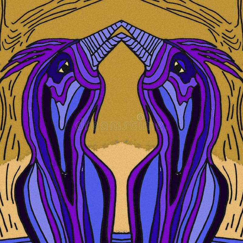 L'amour des oiseaux au printemps couleur violette illustration de vecteur