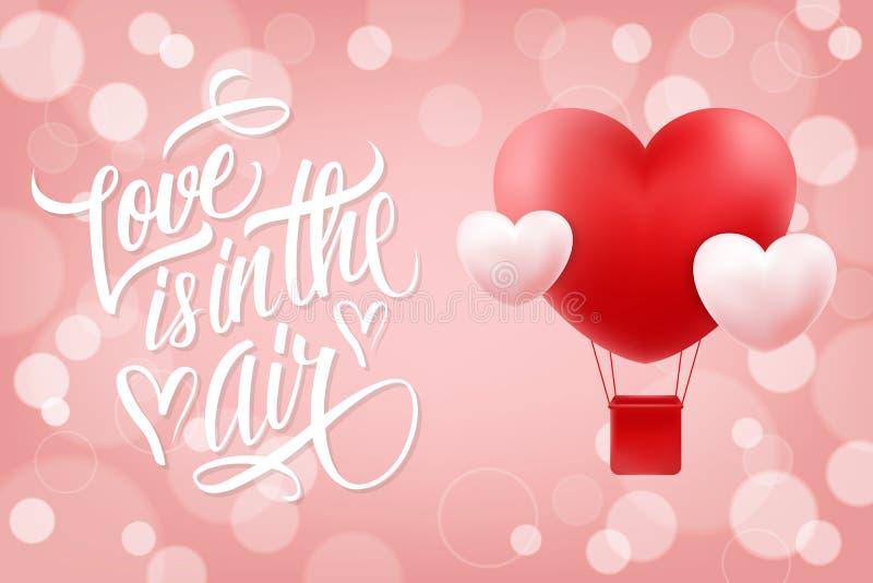 L'amour est à l'arrière-plan romantique d'air avec le ballon à air chaud de lettrage tiré par la main et de forme réaliste de coe illustration de vecteur