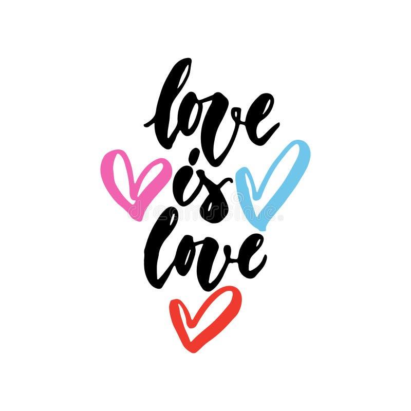 L'amour est l'amour - citation tirée par la main de lettrage de slogan de LGBT avec des coeurs d'isolement sur le fond blanc Insc illustration libre de droits