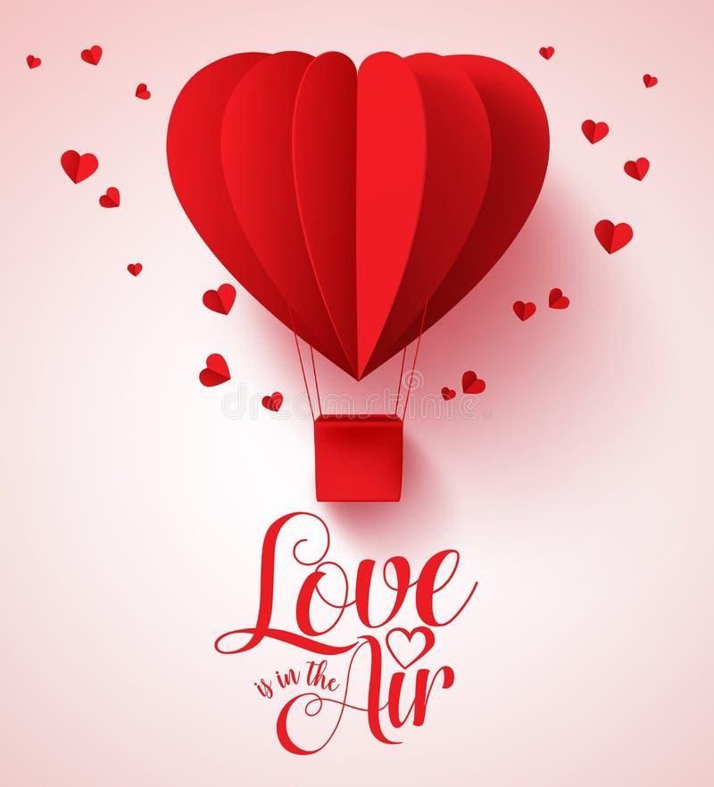 L'amour est dans la typographie d'air pour le jour de valentines avec le coeur rouge coupé par papier illustration stock