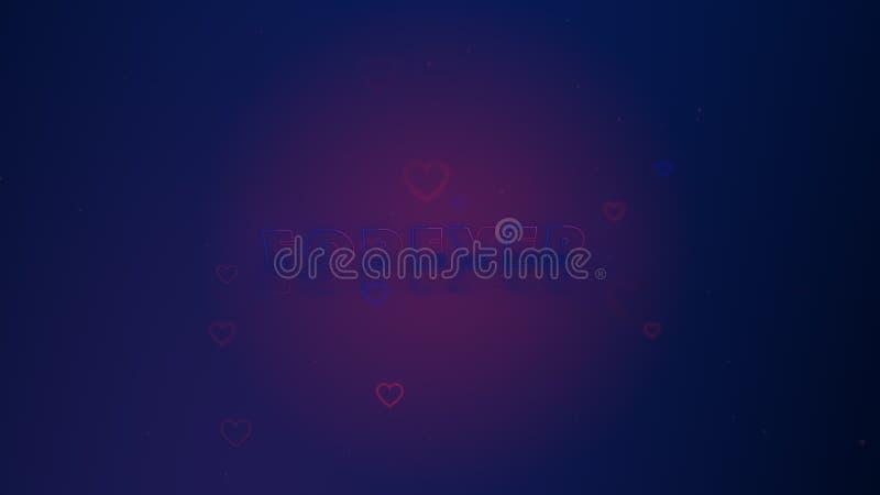 L'amour est dans le ciel Les petits coeurs sont sur la lumi?re - rose - fond m?lang? bleu avec des ?tincelles Backgroud conceptue illustration stock