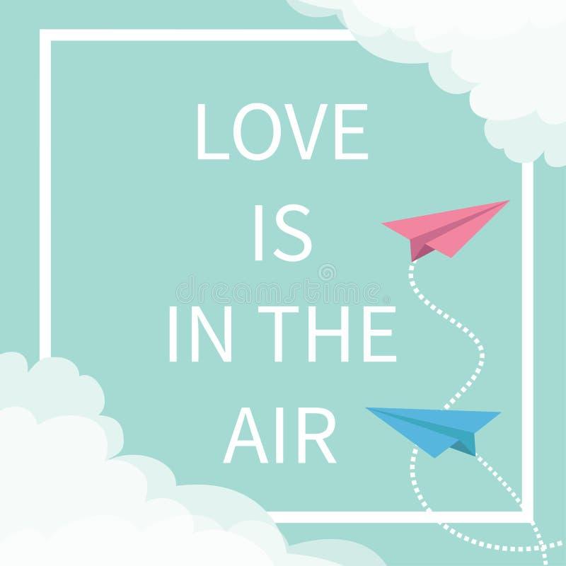 L'amour est dans le texte de lettrage d'air Avion de papier d'origami de vol Ligne carrée à tiret nuage de cadre dans les coins J illustration stock