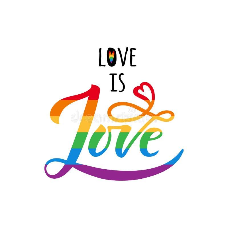 L'amour est lettrage d'amour avec l'arc-en-ciel Slogan de défilé gai LGBT redresse le symbole Calligraphie moderne de brosse Insc illustration libre de droits