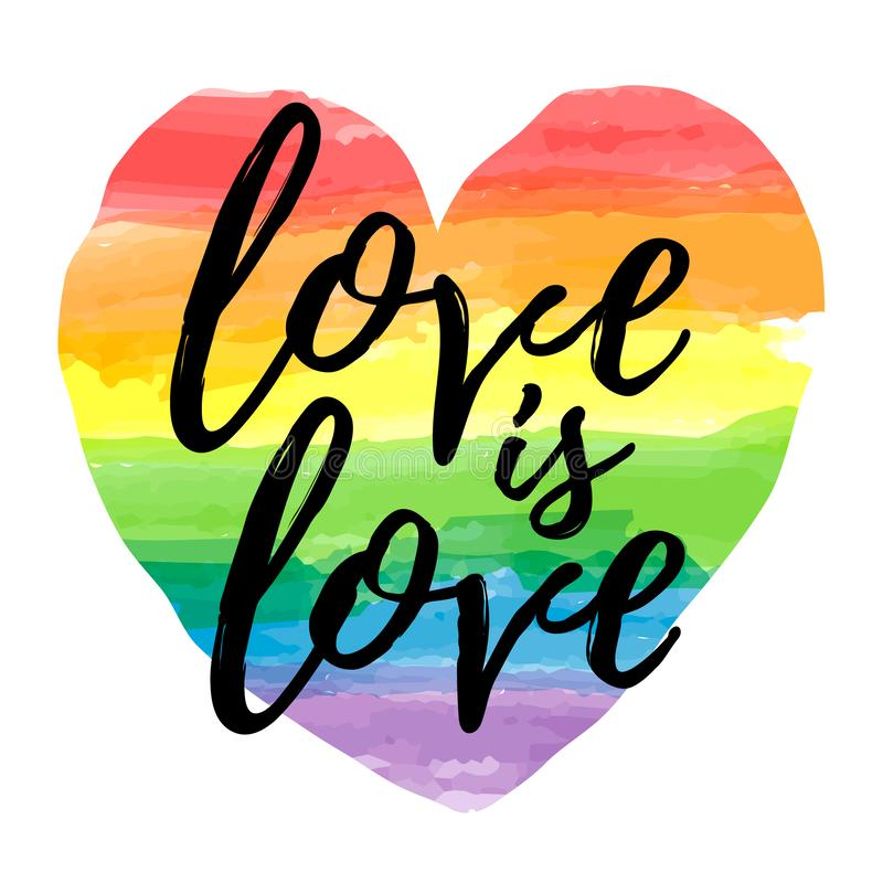 L'amour est amour marquant avec des lettres sur la forme de coeur de spectre d'arc-en-ciel d'aquarelle Emblème d'homosexualité d' illustration de vecteur