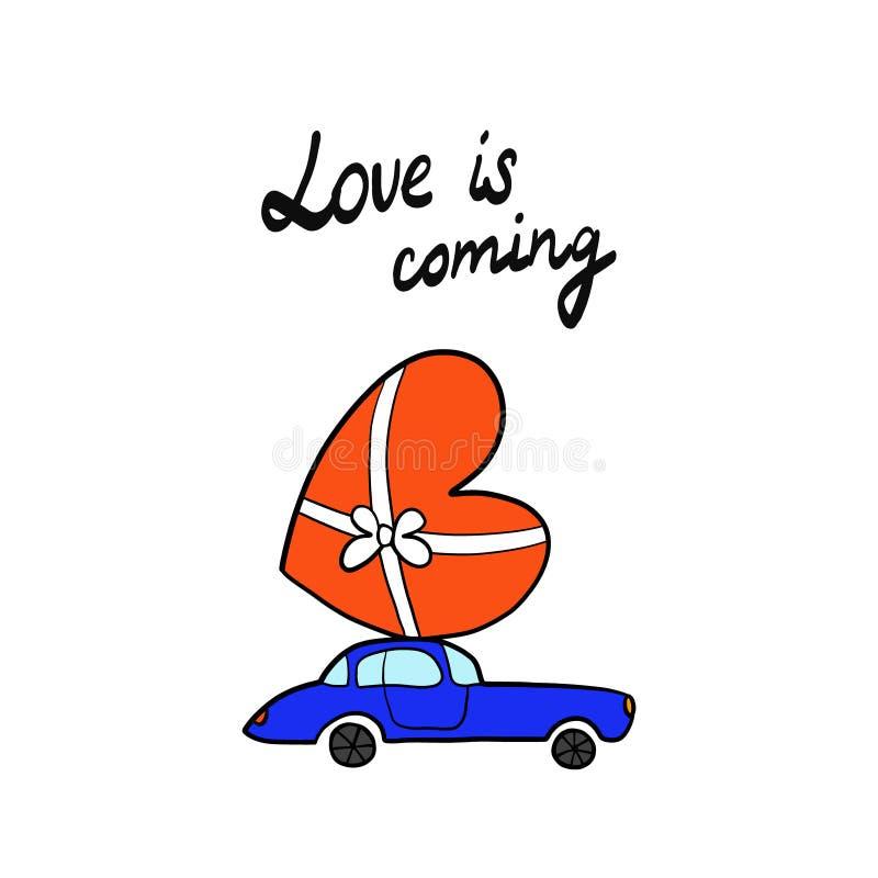 L'amour est prochaine lettrage et illustration pour la voiture d'impression et de T-shirts d'affiches de bannières de cartes et g illustration stock