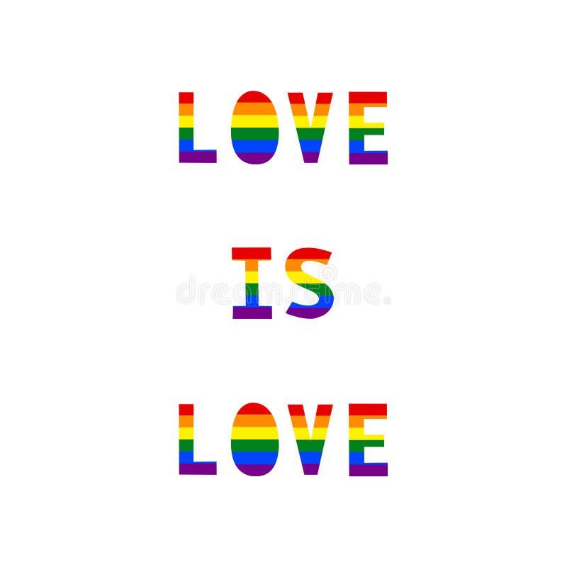 L'amour est texte d'amour avec le drapeau de l'arc-en-ciel LGBT illustration de vecteur