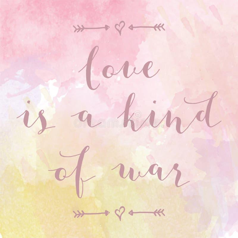 L'amour est un genre d'affiche d'aquarelle de motivation de guerre illustration stock