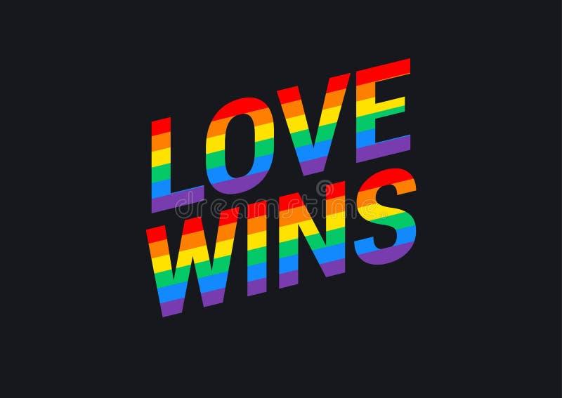 L'amour gagne - glorifiez l'arc-en-ciel de fierté de typographie de drapeau d'arc-en-ciel de mois illustration de vecteur