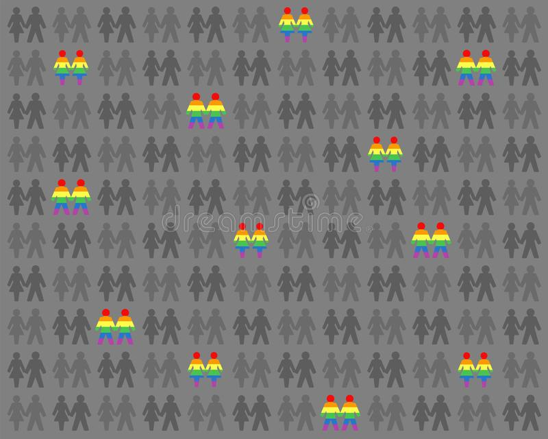 L'amour lesbien gai couple l'arc-en-ciel coloré parmi Gray People illustration stock