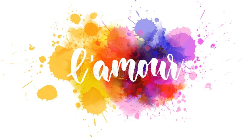 L&-x27; amour literowanie na akwareli farby plu?ni?ciu ilustracji