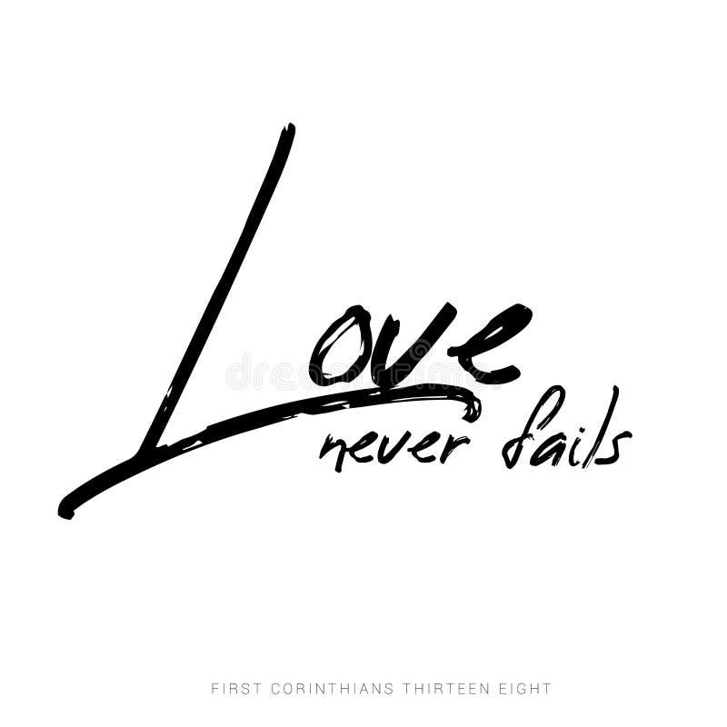 L'amour n'échoue jamais - 1 13:8 de Corinthiens illustration de vecteur