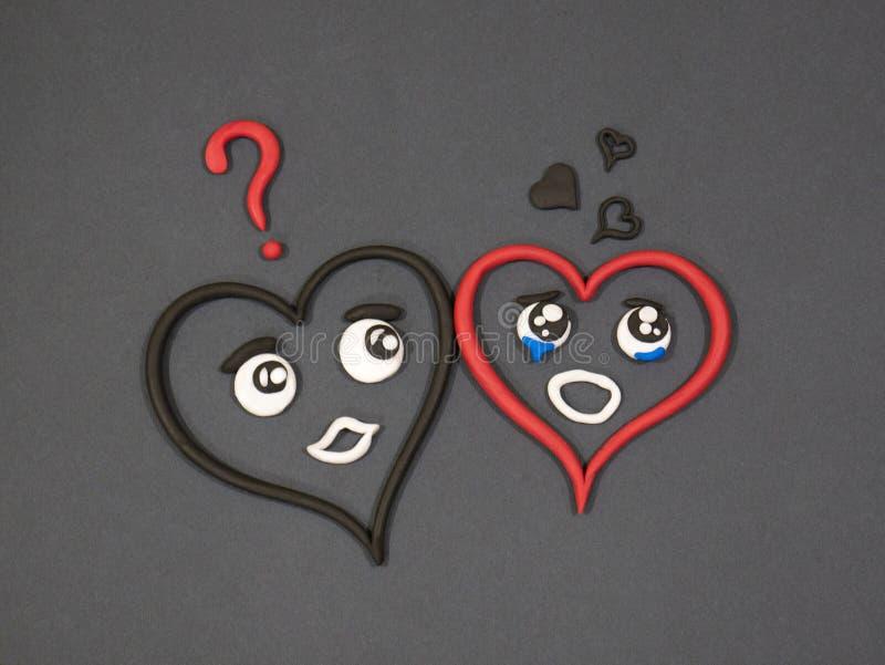 L'amour n'aime pas Larmes de bonheur Coeur de pâte à modeler photos stock