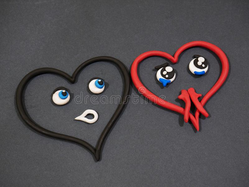 L'amour n'aime pas Larmes de bonheur Coeur de pâte à modeler photographie stock libre de droits