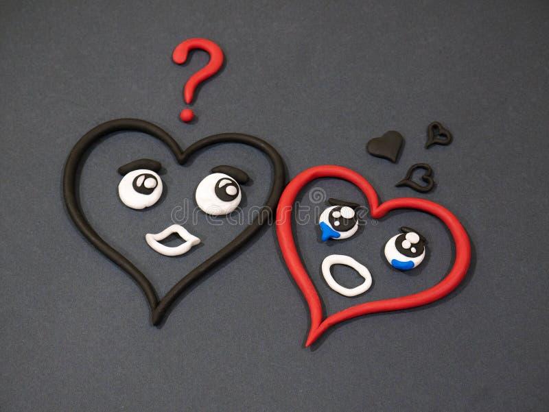 L'amour n'aime pas Larmes de bonheur Coeur de pâte à modeler photo stock