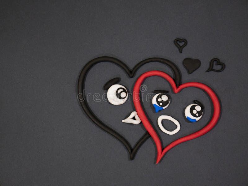 L'amour n'aime pas Larmes de bonheur Coeur de pâte à modeler photos libres de droits
